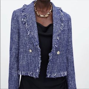 Zara blue frayed tweed blazer jacket. NWOT
